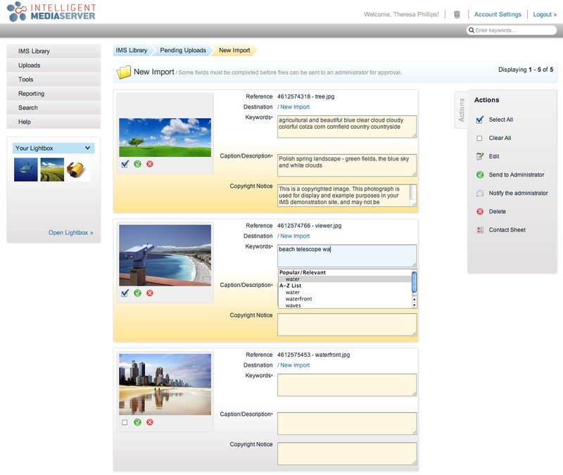 Third Light IMS v6.0 screenshot - upload approvals workflow