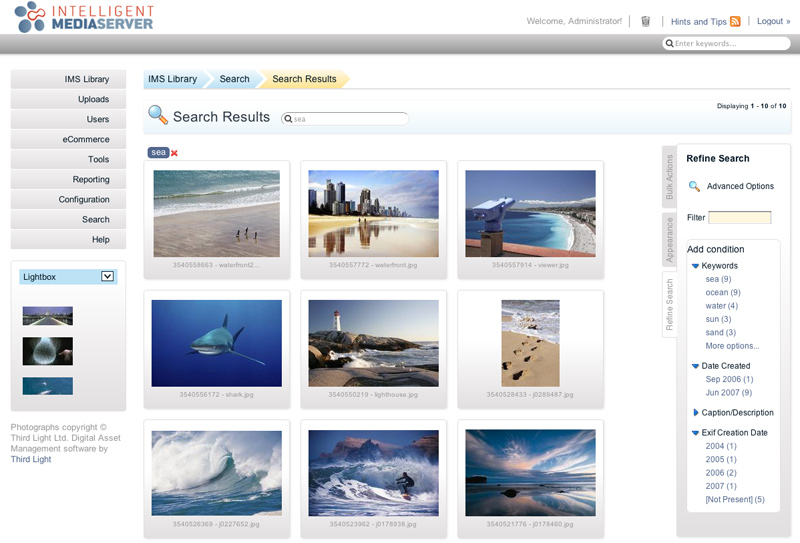 Third Light IMS v6.0 screenshot - search