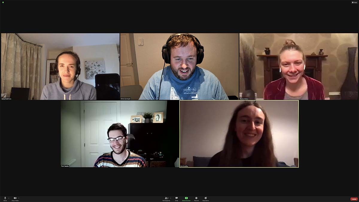 screengrab of dev team on a video call