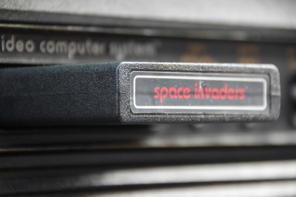 An original Space Invaders console cartridge
